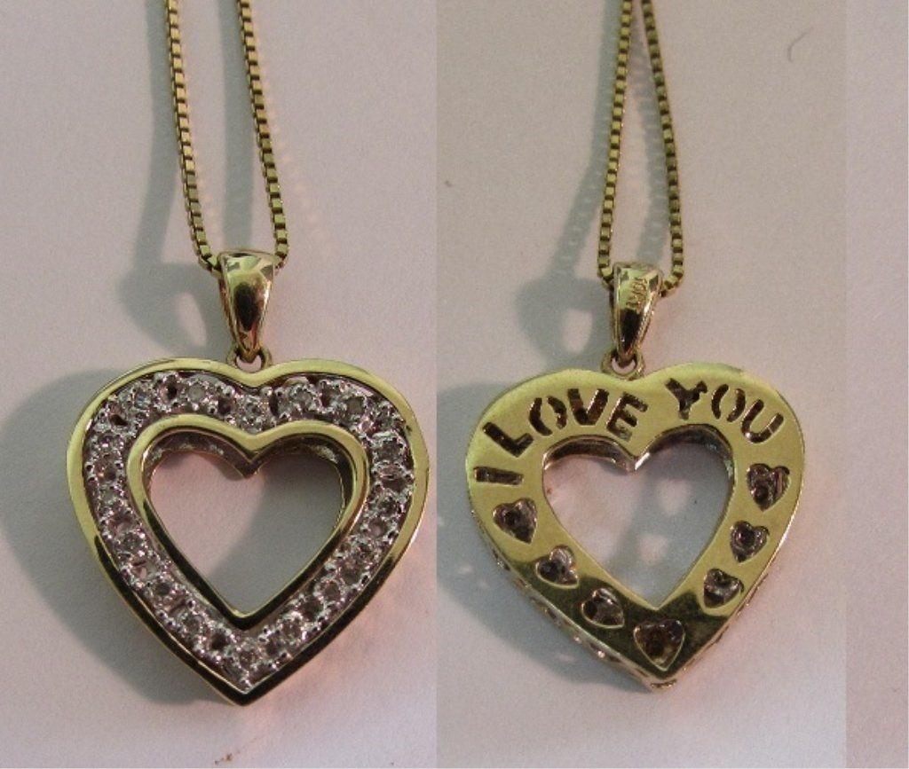 14 DIAMOND HEART PENDANT 10K GOLD NECKLACE