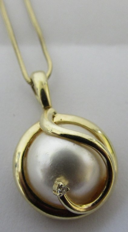15MM MABE PEARL DIAMOND 14K PENDANT 18K CHAIN GOLD