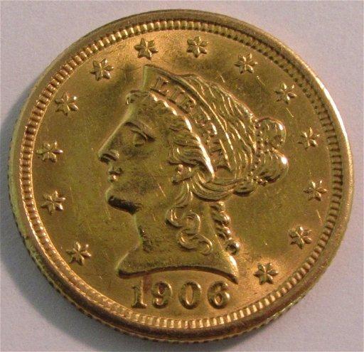 US 1906 GOLD $2 1/2 DOLLAR LIBERTY COIN