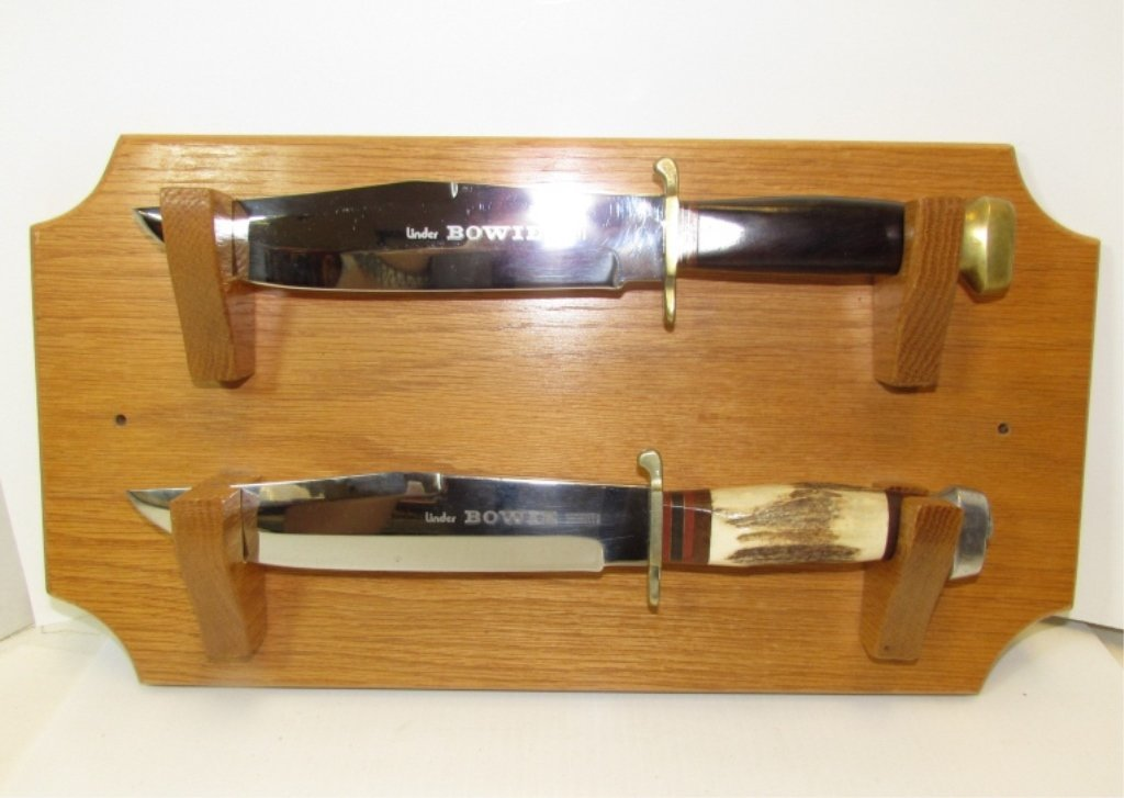 2 BOWIE KNIVES LINDER INOX SOLINGEN GERMANY W DISPLAY