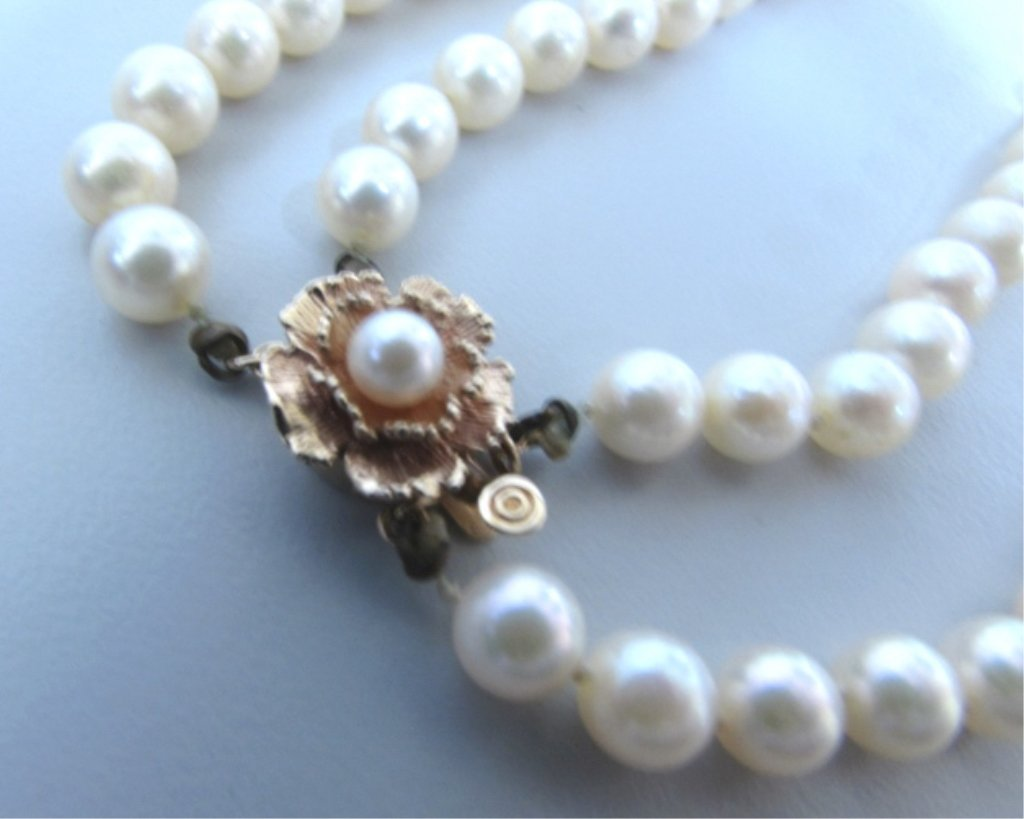 """2 STRAND CULTURED PEARL 22"""" NECKLACE 14K GOLD"""