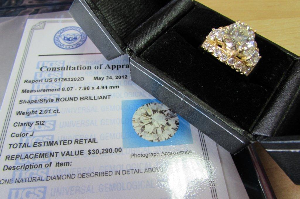 CERTIFIED DIAMOND RING 2.01 CARAT EGL 18K GOLD