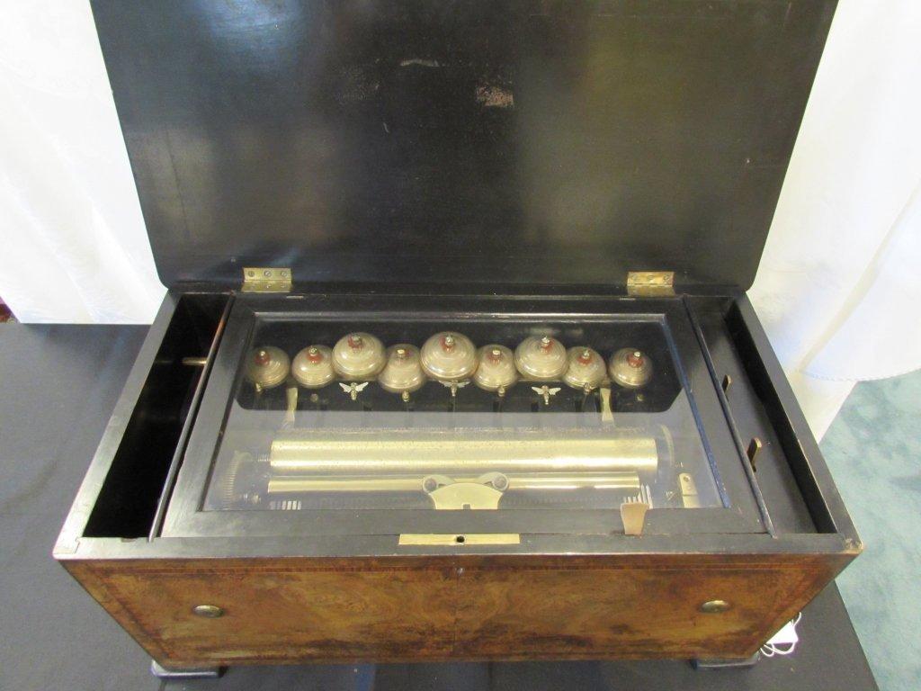 ANTIQUE 9 BELL CYCLINDER MUSIC BOX BY PAILLARD