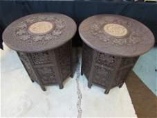 2 ASIAN CARVED WOOD SIDE TABLES INLAID BONE JAIPUR