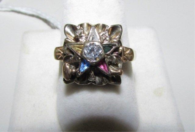 MASONIC RING 14k GOLD DIAMOND EASTERN STAR