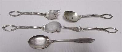 5PC FRANK WHITING STERLING SILVER SERVING SET