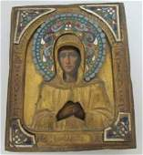 RUSSIAN ICON SAINT ELIZABETH PAINTED & ENAMELED
