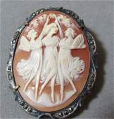 CAMEO PIN PENDANT 800 STERLING SILVER BROOCH