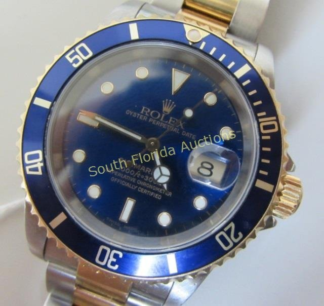 ROLEX BLUE SUBMARINER 16613 18K AND STAINLESS