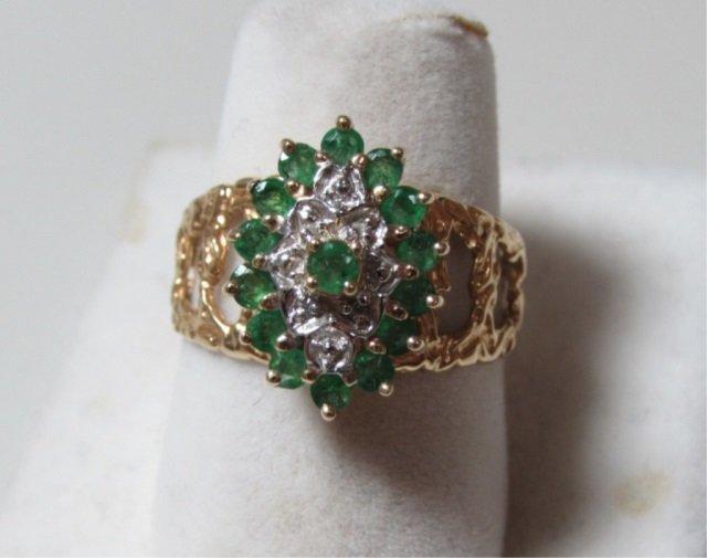 EMERALD DIAMOND RING 10K GOLD SIZE 7