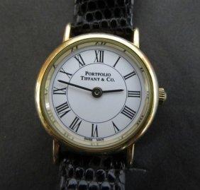 14k Gold Tiffany & Co Portfolio Wristwatch Watch