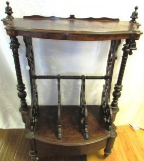Canterbury Magazine Rack Victorian Wood Antique