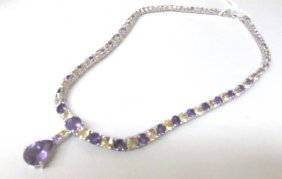 """Amethyst Citrine 17"""" Necklace Sterling Silver"""