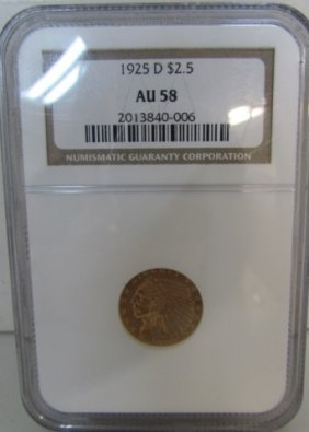1925 D $2.5 Dollar Gold Indian Us Coin Au 58