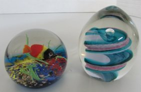 Paperweight Caithness Whirlpool Signed & Sealife