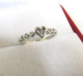 6 Diamond Heart White Gold Ring 10k Size 5