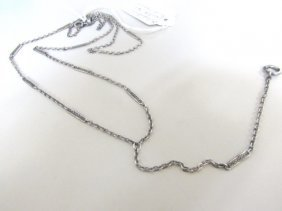 Edwardian Plaque Chain Necklace Sterling Silver