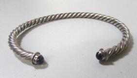 Amethyst Sterling Silver Bracelet David Yurman Style