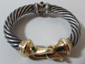 David Yurman Sterling 14k 10mm Buckle Bracelet