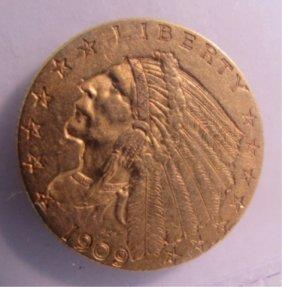 1909 Us Gold $2 1/2 Dollar Indian Coin
