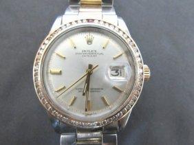 Vintage Rolex Datejust Wristwatch 14k Ss