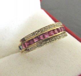 18k Gold Ruby Sapphire Diamond Band Ring