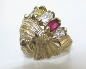 Native American Indian Ring 10k Gold 5 Grams