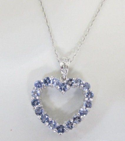 1CT TANZANITE DIAMOND HEART NECKLACE 10K GOLD