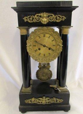 French Portico Black Gold Gilt Clock
