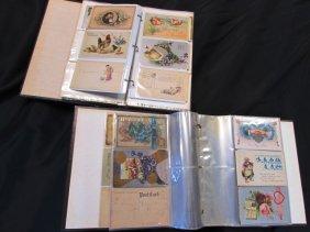 2 Album Books Of Antique Post Cards