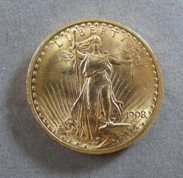 1908 ST GAUDENS $20 US GOLD COIN