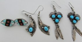 3pair Native American Earrings Sterling Silver
