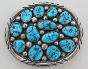 Tommy Moore Belt Buckle Turquoise Sterling Silver