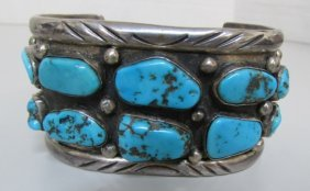 Huge Turquoise Cuff Bracelet Sterling Silver