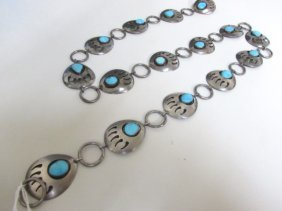 "32"" Sterling Silver Turquoise Native American Belt"