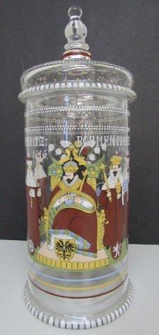 Bohemian Enamel Pokel Glass Humpen Germany Jar