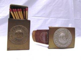 Nazi Wwii Belt Buckle Trench Art Match Case Brass