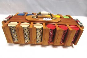 Poker Chips Cards Custom Wood Case Gamblers