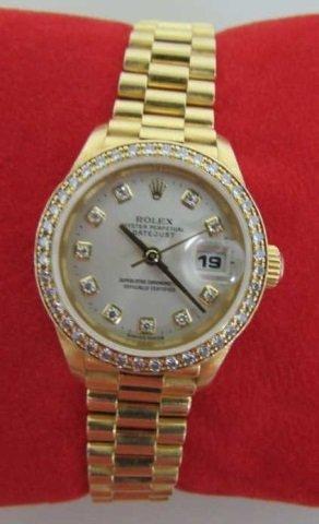 ROLEX 18K GOLD LADIES PRESIDENT DIAMOND DIAL BEZEL