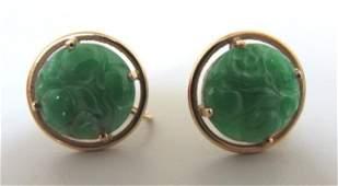 CARVED GREEN JADE JADEITE EARRINGS 14K GOLD