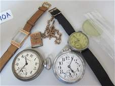 2 POCKETWATCHES 2 WRISTWATCHES  WATCH CHAIN