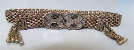 VICTORIAN TASSLE BRACELET SLIDE CATCH 10K GOLD