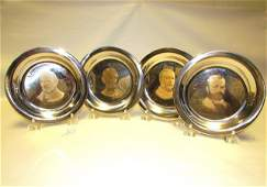 4 STERLING SILVER PLATES 24k GOLD 700 GRAMS