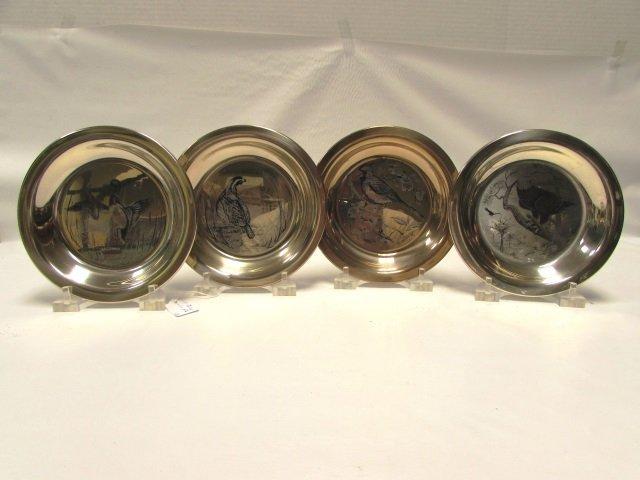 4 STERLING SILVER BIRD PLATES MINT 790 GRAMS