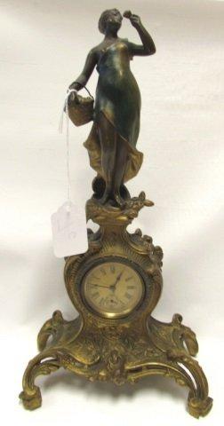 ART NOUVEAU FIGURAL MANTLE CLOCK ANTIQUE