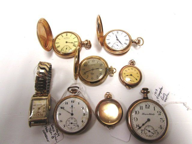 LOT OF 7 POCKETWATCHES 1 WRISTWATCH