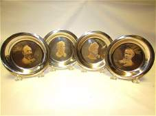 4 STERLING SILVER PLATES 24k GOLD 718 GRAMS