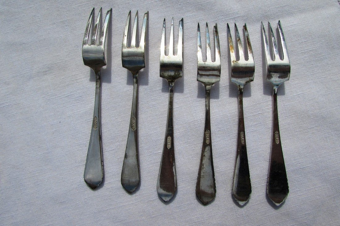 6 FORKS 800 SILVER IN BOX STERLING VINTAGE - 3