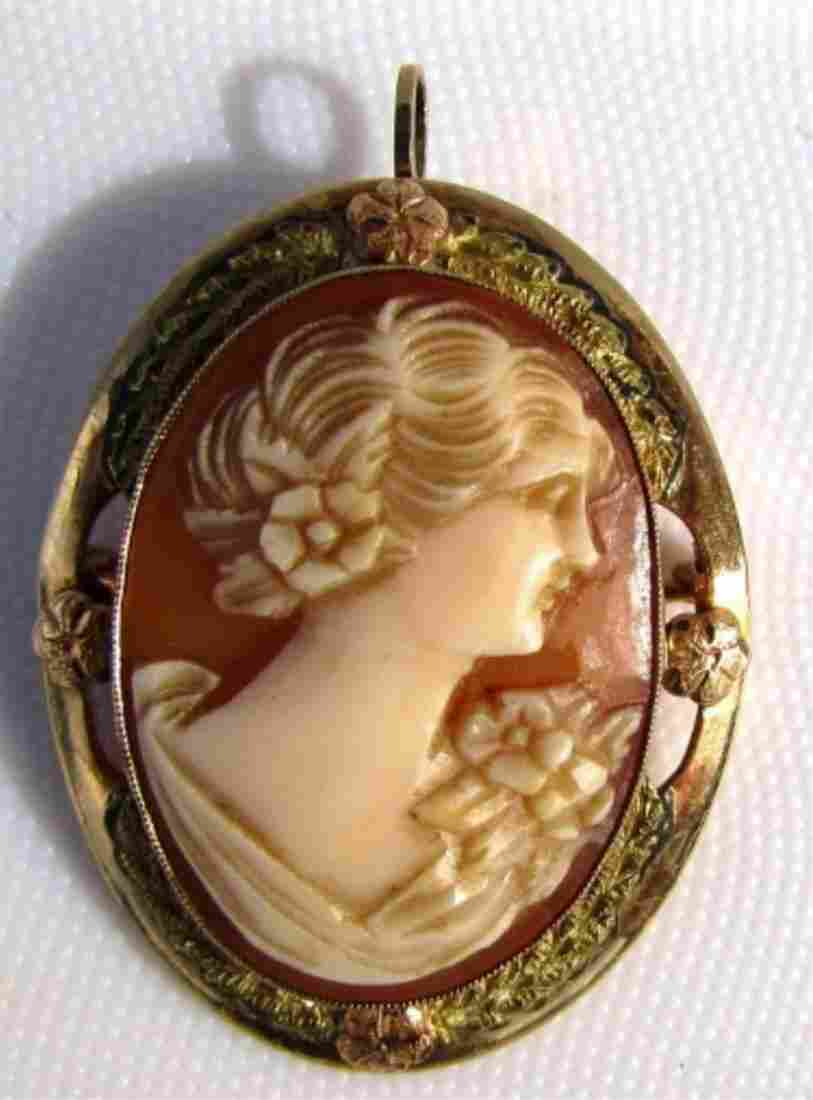 CAMEO PIN PENDANT 10K GOLD  CARVED SHELL 4.3GRAMS