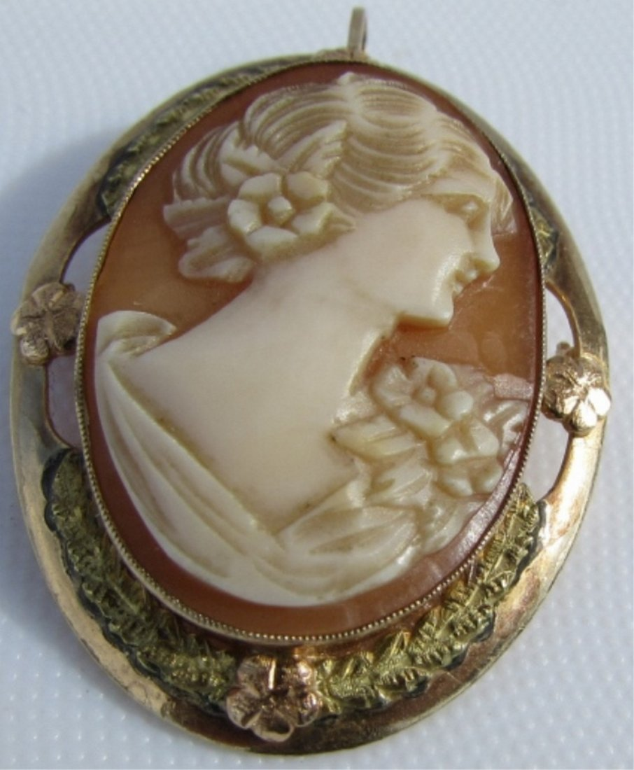CAMEO PIN PENDANT 10K GOLD  CARVED SHELL 4.3GRAMS - 2
